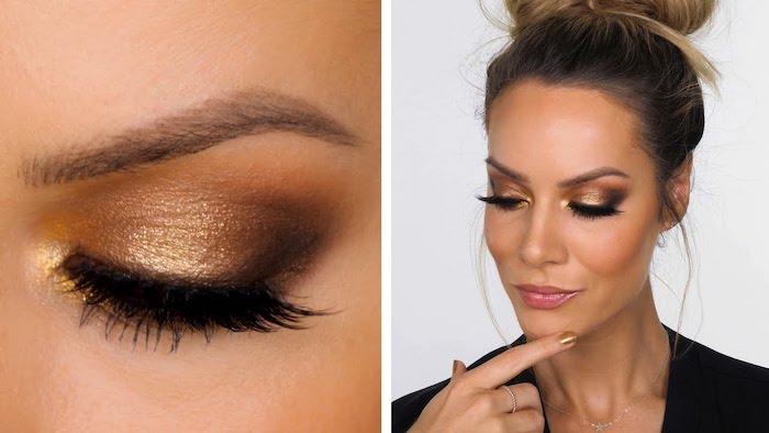 tuto maquillage yeux debutant avec des couleurs doress et noir sur une femme avec des cheveux en chignon