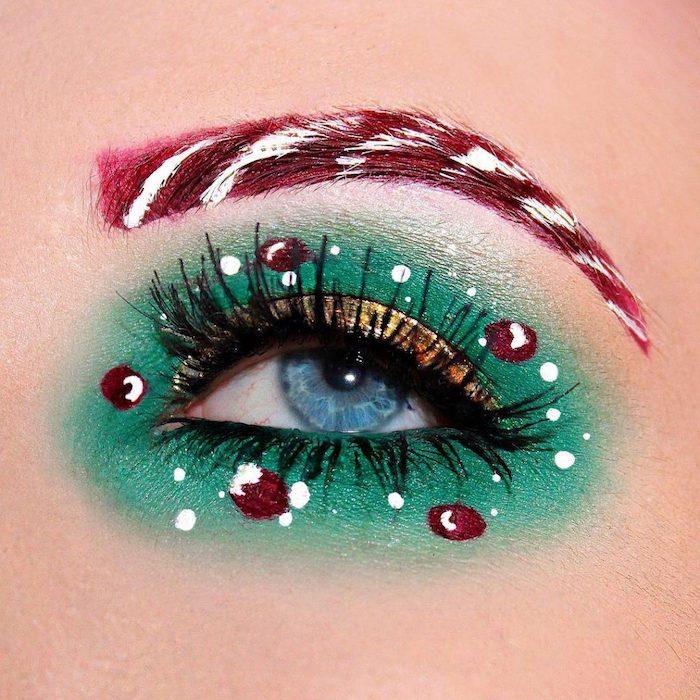 tuto maquillage yeux debutant avec des petits dessins et des fards a paupieres vertes et rouges