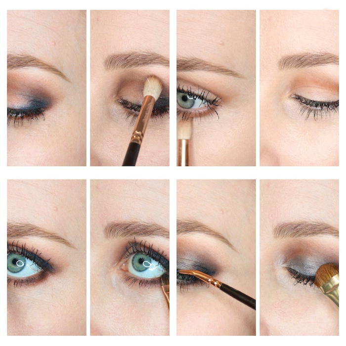 tuto maquillage yeux smokey avec des fards en noir et en or commet faire etape par etape