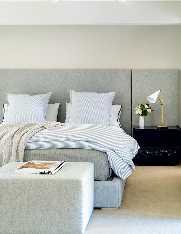 un lit avec une table en tissu gris et un chevet noir des couettes en carreaux couleur tendance deco 2021