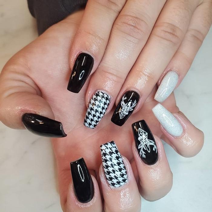 vernis a ongle noir dessin minimaliste ongles longs en gel vernis sombre noir tendance couleurs vernis hiver