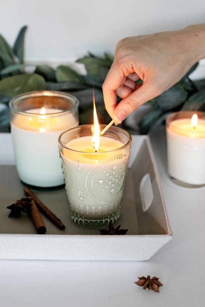 bâtons cannelle plateau bougies parfumées cire végétale verre contenant diy activité manuelle
