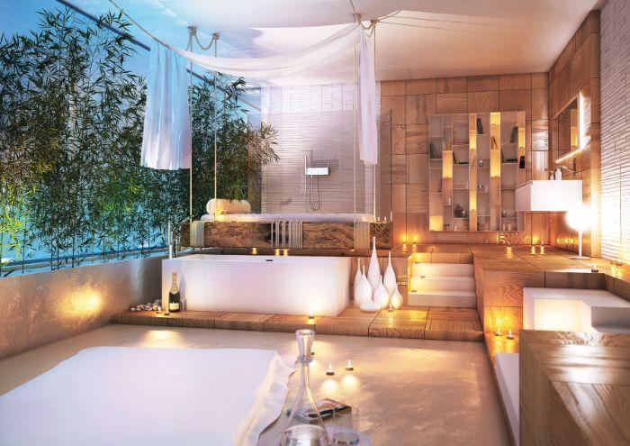 baignoire blanche salle de bain exterieure terrasse de bois bougies vases étagères bois ambiance cosy