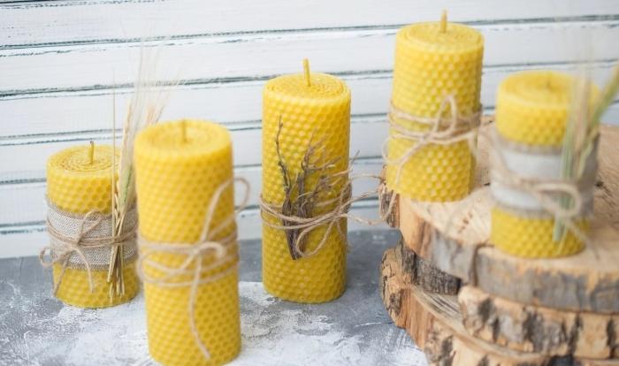 bougie diy cire d abeille produits naturels fabrication bougie décoration ficelle branches