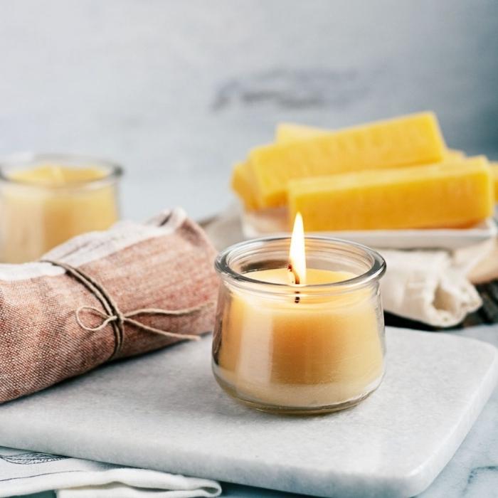 bougie fait main contenant verre cire végétale mèche diy aromathérapie produits maison