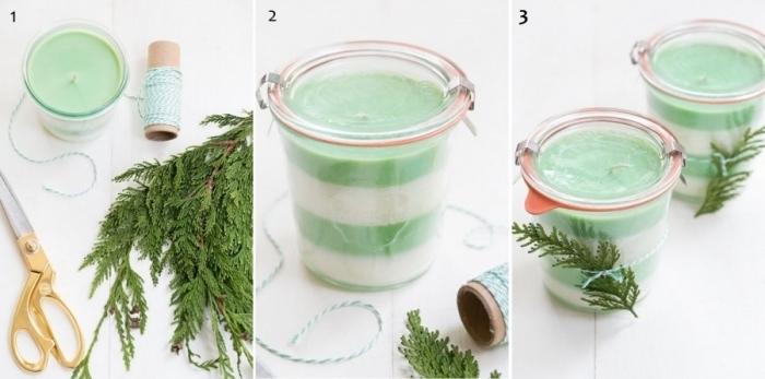 branches de pin décoration pot verre idée comment fabriquer bougie cire végétale coloration naturelle