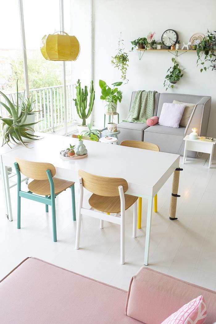 chaise colorée salle à manger lampe suspendue jaune accents pops intérieur cactus aloe vera étagère suspendue bois