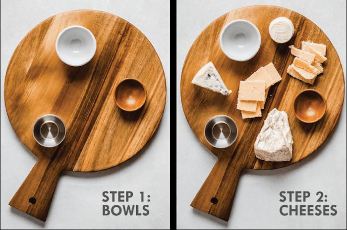 comment assembler un plateau en bois avec des trois bols et de frommage etape par etape.jpg