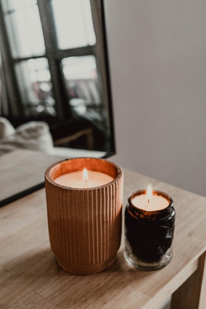 comment fabriquer une bougie table bois miroir contenant pour bougies vegan nature