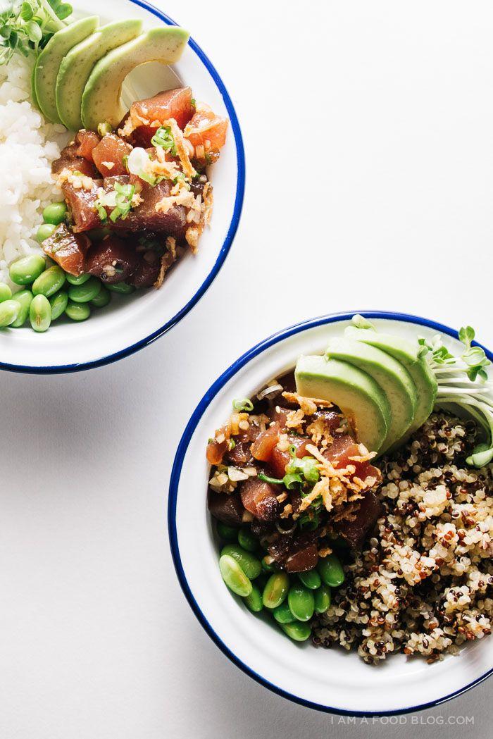 comment faire pone bowl quinoa fèves thon rouge tranches d avocat idée de repas en famille diner esquis