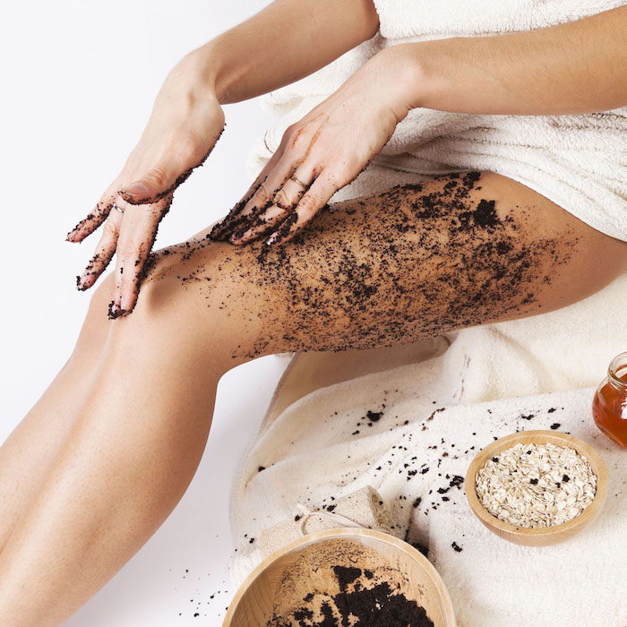 natural body care. cellulite massage with coffee scrub, oats, honey.