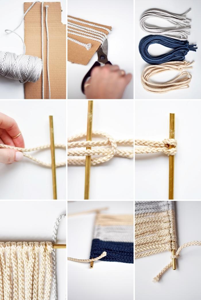 comment faire une déco originale murale suspension macramé débutants noeud tête alouette