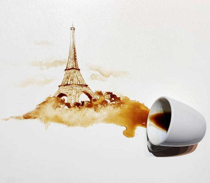 comment paindre avec du marc de café un dessin de la tour eiffel