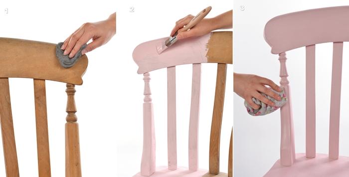 comment peindre chqise en bois tutoriel fqcile peinture rose pqstel pinceau
