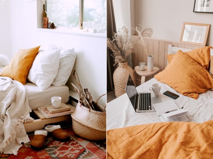 couleur nature taie oreillers couleur orange jeté lit franges lingerie cadre de lit bois