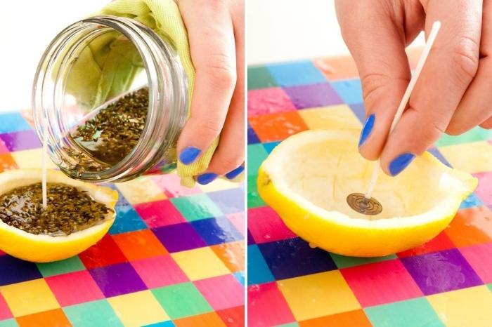 creation bougie zeste citron moitié méche embout métallique colle cire végétale herbes maison