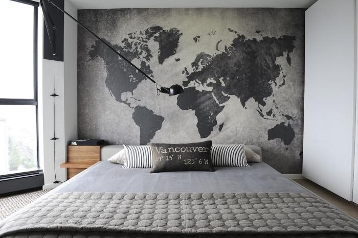 décoration murale chambre adulte design intérieur style minimaliste nuances de gris carte du monde