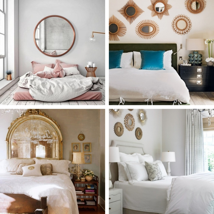 deco murale chambre adultes miroirs soleil parquet bois blanc meuble chevet rangement ouvert