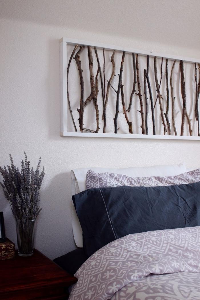 decoration au dessus d un lit cadre bois blanc bois flotté création diy activité manuelle adultes