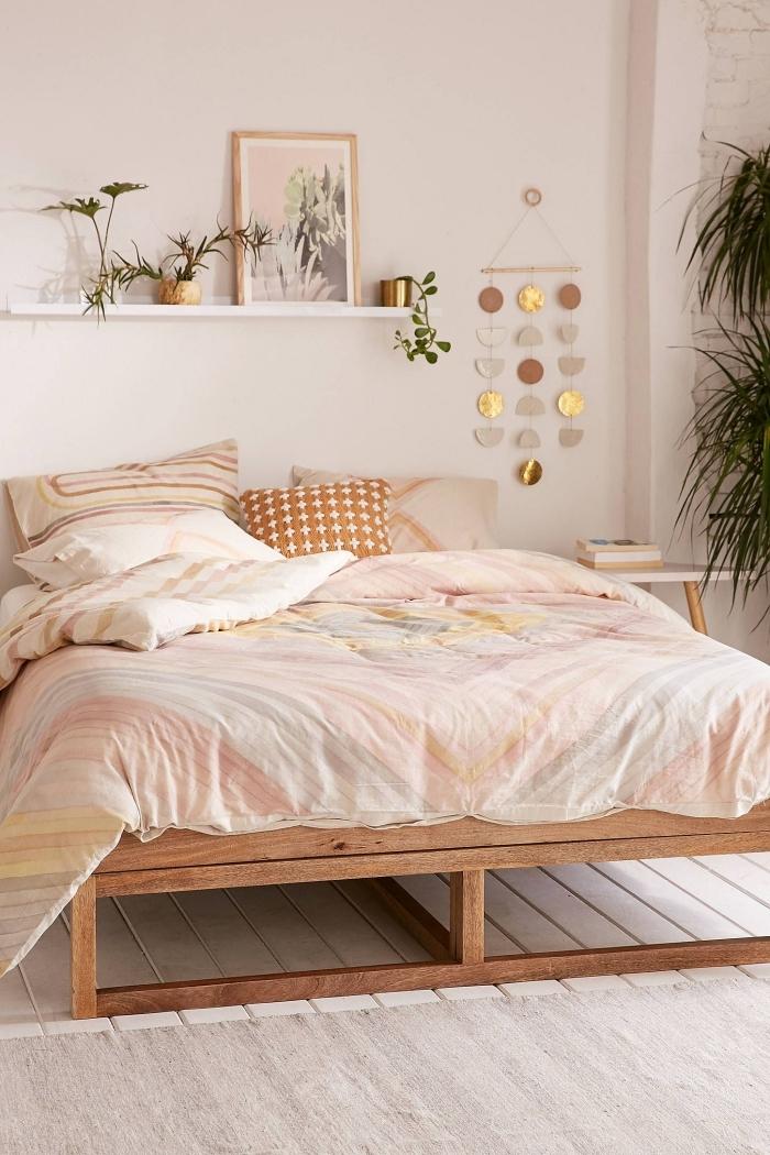 decoration au dessus d un lit design style boho moderne cadre de lit bois étagère bois blanc