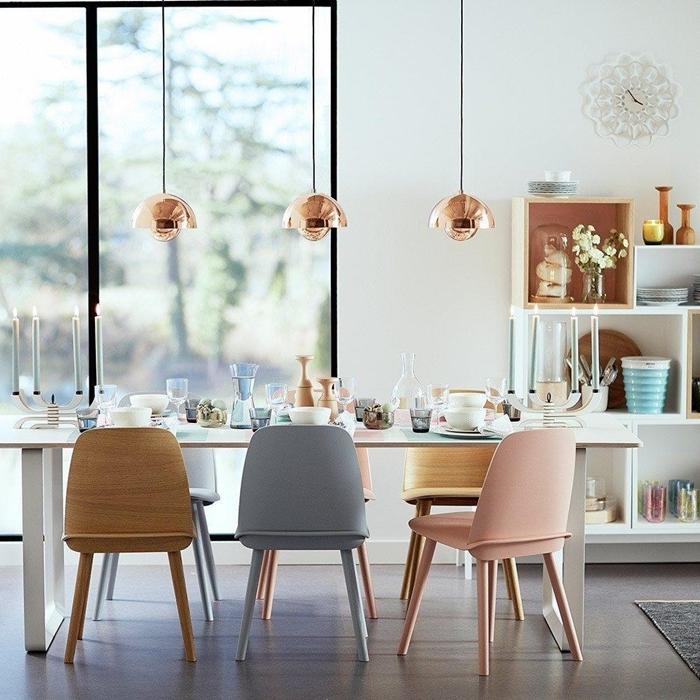 design intérieur moderne salle a manger moderne chaises couleurs pastel accents rose gold bois chaise