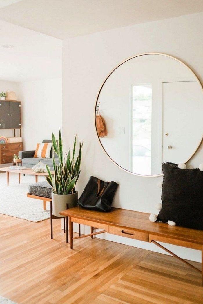 entrée maison japandi deco inspiration japonaise scandinave banc d entrée bois miroir rond salon scandinave
