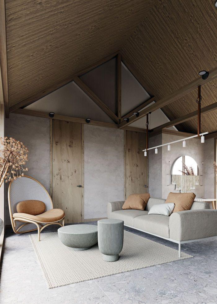 exemple deco salon zen et chaleureux canapé gris chaise marron table grise sut tapis tressé poutres apparentes charpente bois