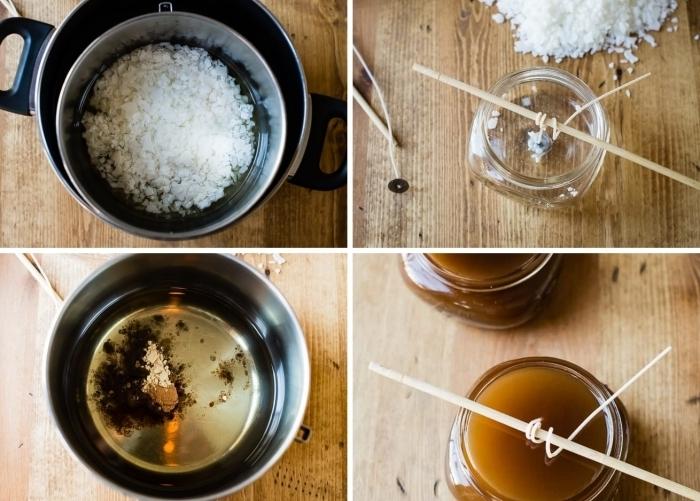fabriquer des bougies tutoriel facile créativité loisir casserole bain marie cire soja baguette bois