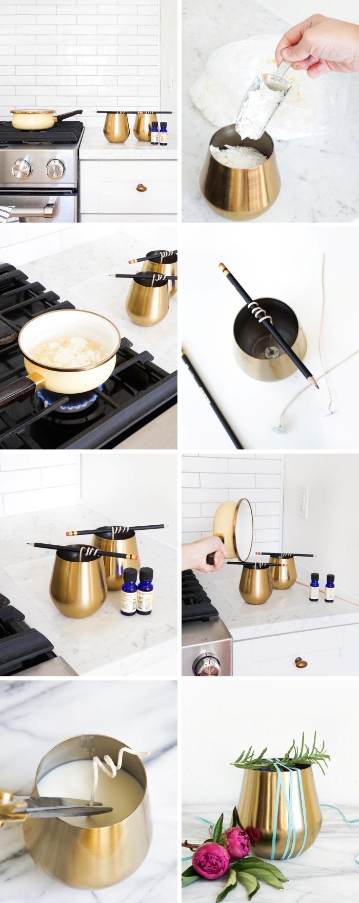 faire ses bougies parfumées soi même cire végétale fondue au bain marie contenant doré mèche