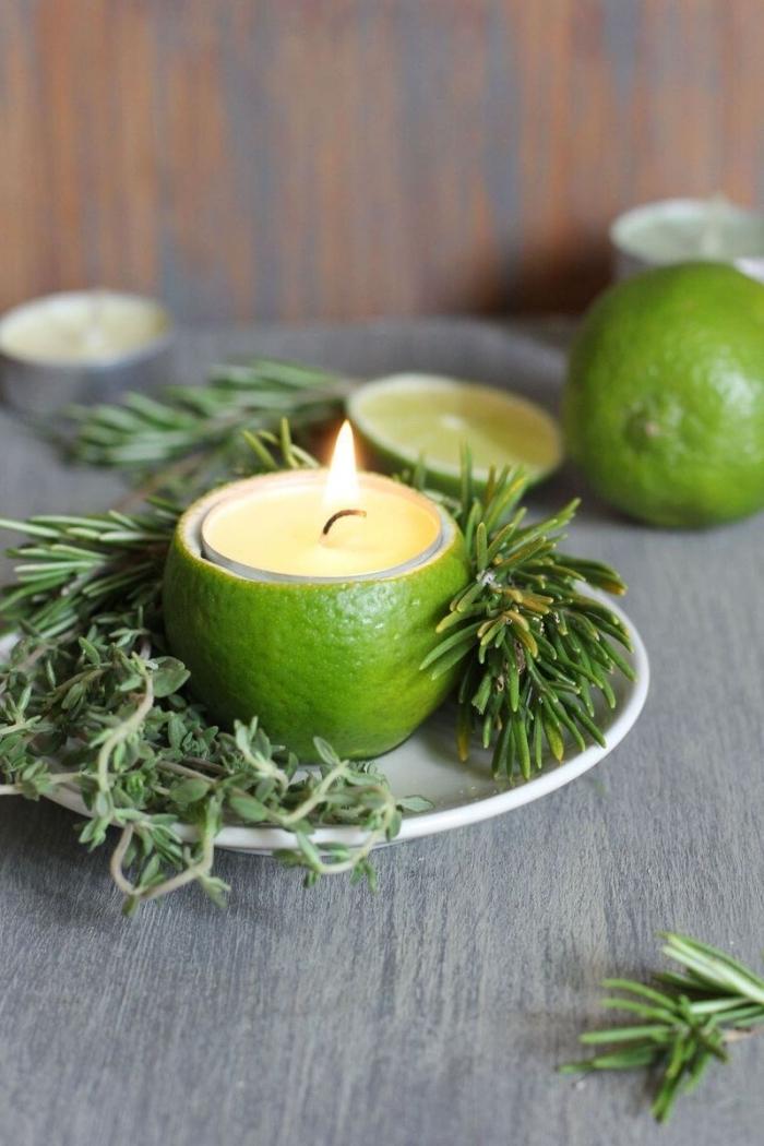 idée bougie deco facile branches de sapin assiette ronde zeste de citron vert cire végétale