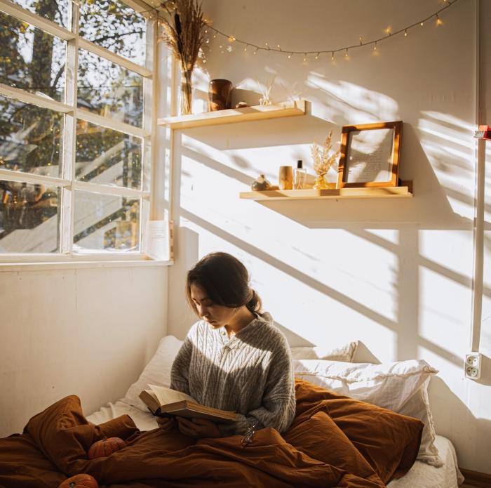 idée décoration au dessus d un lit étagère bois souvenirs plantes livres lumières guirlandes coin sommeil