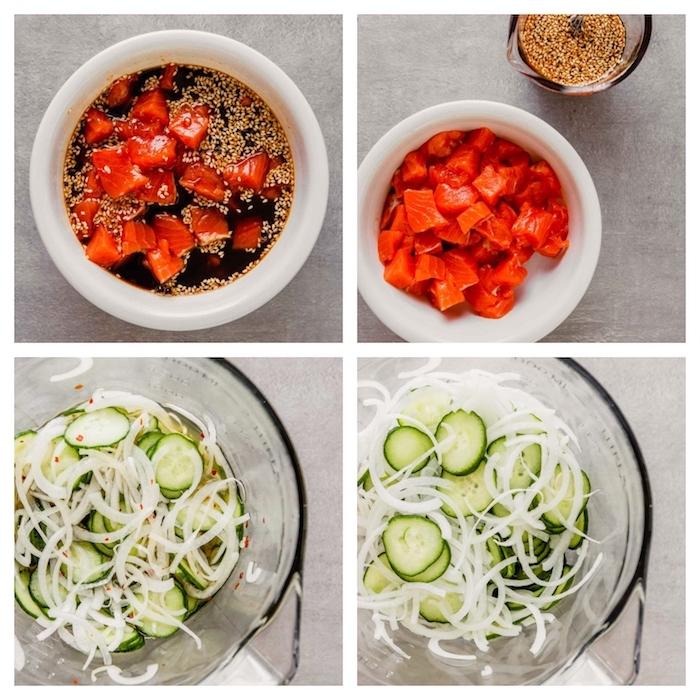 idée de saumon fumé épicé et des cocnombres aux oignons recette poke bowl simple à faire