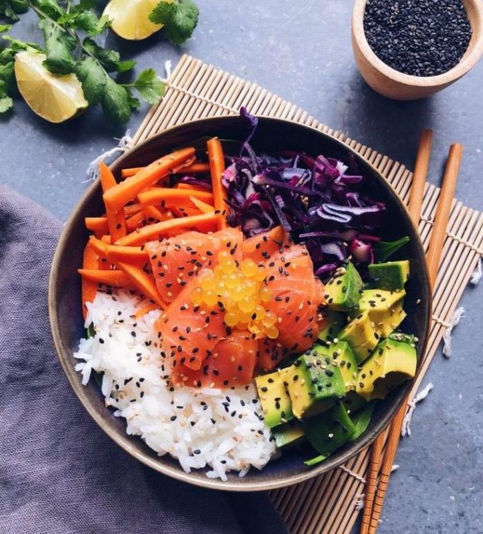 idee de poke bowl saumon avec base de riz avocat saumon fumé choux rouge caviard carottes