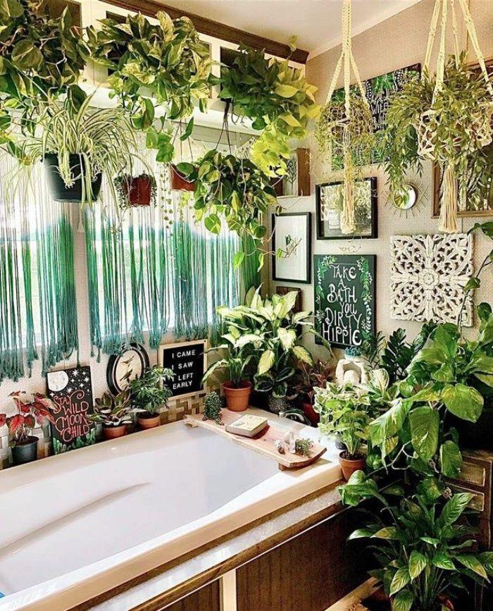 inspiration salle de bain style jungle avec plusieurs plantes vertes en pot baignoire blanche à revêtement de bois murs gris