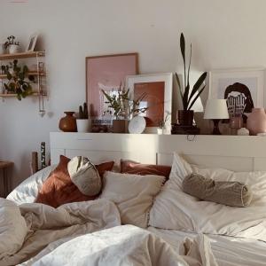 intérieur cocooning décorer sa chambre avec peinture art portrait femme blanc et noir cadres