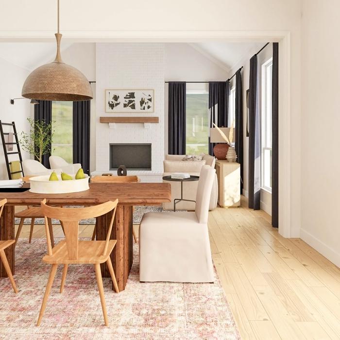 lampadaire table à manger bois brut foncé meuble salle à manger chaise housse beige cheminée noir et blanc