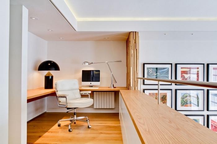 maison avec mezzanine aménagement bureau domicile étage deuxième niveau bureau bois suspendu
