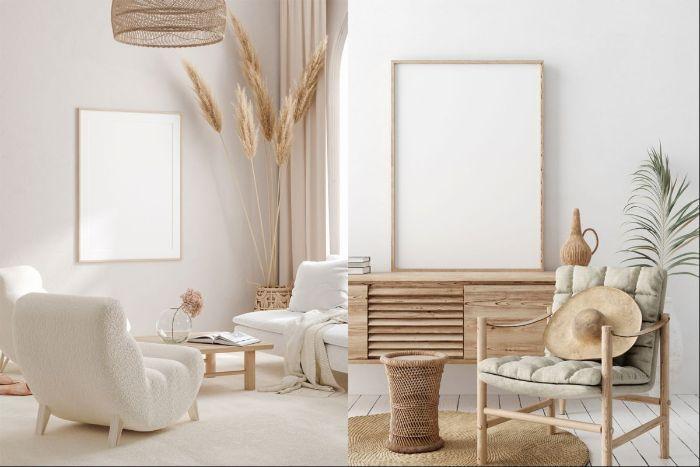 maison style japonais scandinave canapé et fauteuil blanc meuble s bois accents deco japonaise deco vert et camel