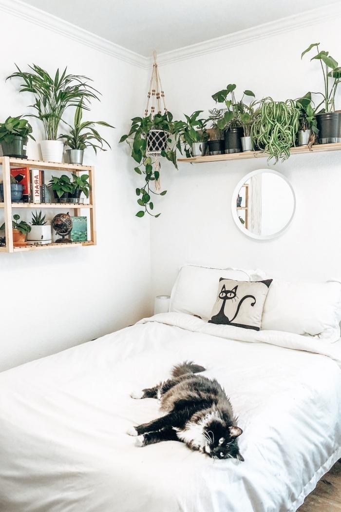 miroir au dessus du lit plantes suspendues suspension macramé fleurs chambre étagère