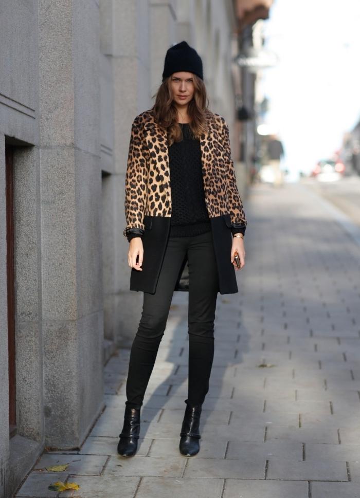 motif léopard comment assortir les couleurs de ses vêtements bonnet noir pantalon slim fit