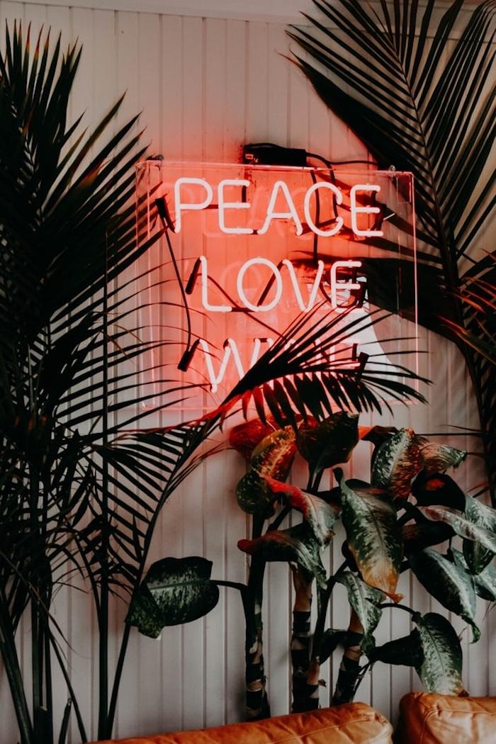 néon mural en rose sur un verre autour des plantes vertes