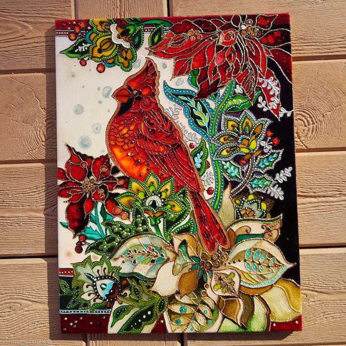 peinture acryique sur verre un tableau d oiseaux entoures des fleurs