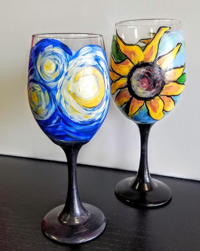 peinture sur verre deux idées de dessins a paritr des tournesols de van gogh et la nuit etoilée