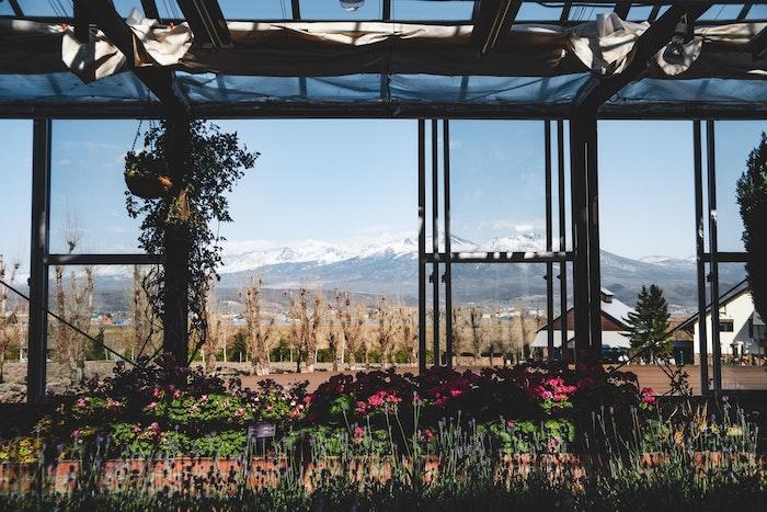 pergola avec une belle vue vers le village et la montagne