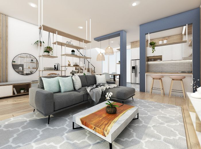 petite cuisine salle à manger ouverte sur salon doté de canapé d angle table basse bois et marbre et metal accents deco zen