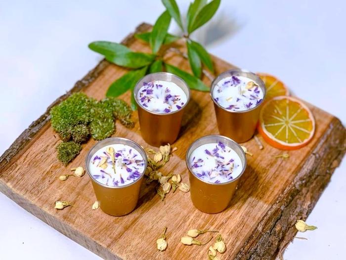 planche bois tranches de citron deco bougie facile avec cire naturelle végétale mousse