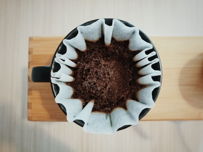directly above shot of ground coffee in filter