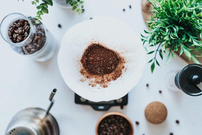 quelles plantes aiment le marc de café un comptoir blanc avec des plantes vertes et vase a fleurs pleine de graines de café