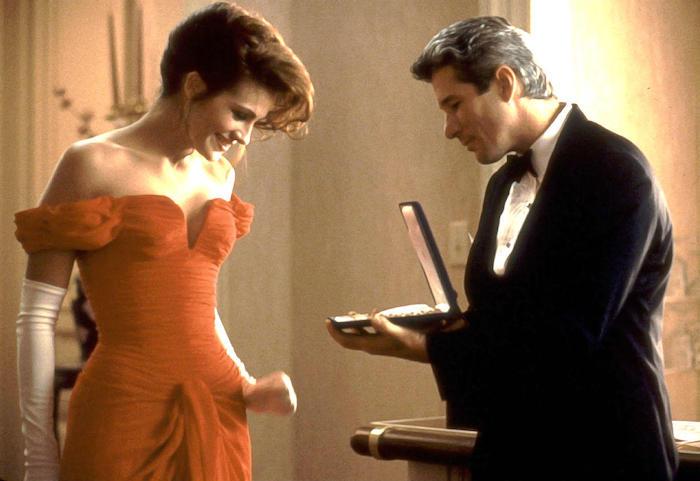 richard gear et julia robert vetue dans une robe rouge un scne du film pretty woman idée pour saint valentin