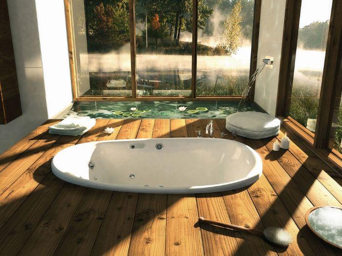 salle de bain zen et chaleureuse baignoire encastrée dans bois petit pond intérieur avec nénuphares bougies ambiance cocooning